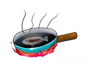 フライパンを魚グリルの代用に
