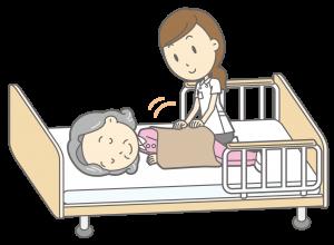 ベッド生活の介護される人